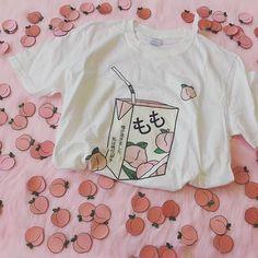 Peach juice japanses aesthetic grunge t-shirt women girls kawaii white tee summer Aesthetic T Shirts, Aesthetic Clothes, Sweat Shirt, Tee Shirts, Pink Shirts, Looks Kawaii, Peach Aesthetic, Aesthetic Grunge, Retro Aesthetic