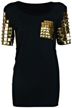 Studded Metallic Plate Black T-shirt #romwe