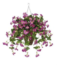 Artificial Petunia Hanging Plant in Square Basket