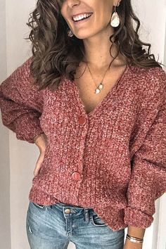 Women's solid color button knit cardigan - NEW DRESS Marled Sweater, Knit Cardigan, Cardigan En Maille, Swing Coats, Casual Sweaters, Knit Sweaters, Street Style Summer, Cardigans For Women, Pulls