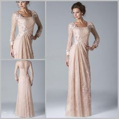 Elegant Full Sleeve Sheath Column With Appliques Champange Long Lace Dresses Mother of the Bride Dresses Women Evening Prom Dresses, Mob Dresses, Types Of Dresses, Modest Dresses, Pretty Dresses, Fashion Dresses, Bride Dresses, Bridesmaid Dresses, Lace Dresses, Dresses Online