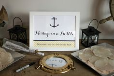 nautical themed shower: message in a bottle, guest book