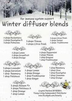 Young Living Essential Oils: Winter diffuser recipes for immune support Essential Oil Diffuser Blends, Doterra Essential Oils, Natural Essential Oils, Natural Oils, Clove Essential Oil, Geranium Essential Oil, Yl Oils, Young Living Oils, Young Living Essential Oils