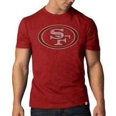 NFL San Francisco 49ers Men's '47 Brand Scrum Basic Tee (Style 1), Rescue Red, Large