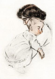 Old Design Shop ~ free printable, vintage illustration baby asleep in mother's arms