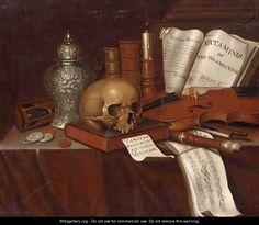A Vanitas Still Life With A Skull - Pieter Gerritsz. van Roestraten Pieter Gerritsz. van Roestraeten (Haarlem, 1630 - Londen, 1700) was een Nederlands kunstschilder en tekenaar uit de periode van de Gouden Eeuw. Hij vervaardigde genrestukken en portretten, waar werd vooral vermaard om zijn stillevens.