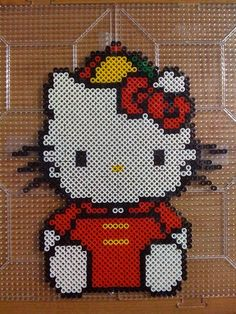 Hello Kitty colorful cap perler beads by Megan T. - Perler® | Gallery