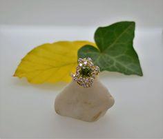 Fabulous Green Tourmaline & Diamond Scatter Cluster by DougHughesJewellery on Etsy