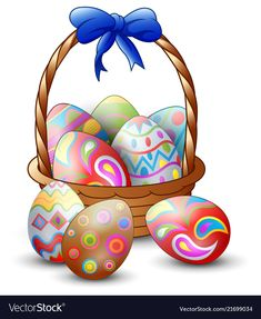 Easter colorful eggs with basket isolated on white vector image on VectorStock Easter Coloring Sheets, Easter Colouring, Easter Bunny Pictures, Birthday Logo, Easter Baskets, Easter Crafts, Happy Easter, Easter Eggs, Vintage Cards