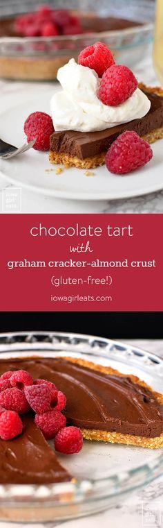 Chocolate Tart with Graham Cracker-Almond Crust is an unbelievably simple yet impressive gluten-free, dairy-free dessert recipe. Perfect for entertaining! | iowagirleats.com