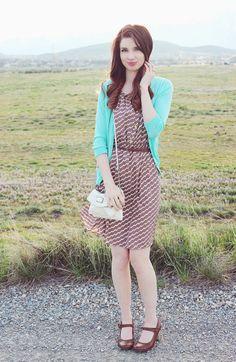 """My Thoughts On Chevron."" #blog #blogger #styleblog #clothes #fashion #style #chevron #dress #turquoise #brown #tan #white #cardigan #spring #vintage #classy #classic #auburnhair #hair #curls #redhair #chesnutbrown #hairideas #hairidea #springfashion #forever21 #oldnavy #purse #photography #field #nature DarlingOnADollar.com"