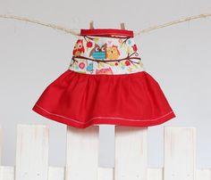 12 inch Handmade Girl Doll Clothes Sleeveless by RibizliDesign Girl Doll Clothes, Girl Dolls, Owl Fabric, Red Sleeveless Dress, Riley Blake, Dress Making, Fashion Dolls, Cheer Skirts, My Style