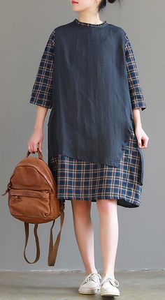 Bohemian false two pieces cotton linen quilting clothes Fashion Fabrics navy shift Dress spring Designer Day Dresses P. Modern Hijab Fashion, Muslim Fashion, Look Fashion, Fashion Black, Linen Shirt Dress, Linen Dresses, Long Shirt Outfits, Hijab Stile, Iranian Women Fashion