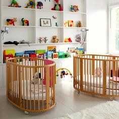 Creative and Modern Nursery Design Ideas Twin nursery with Sleepi cribs.Twin nursery with Sleepi cribs. Nursery Twins, Nursery Room, Kids Bedroom, Nursery Decor, Nursery Ideas, Childrens Bedroom, Small Twin Nursery, Twin Room, Wood Nursery