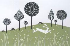 White Hare - Original Large Linocut -  Giuliana Lazzerini on Etsy