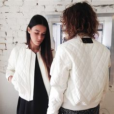 DREAMING OF A WHITE CHRISTMAS...  In this white quilted bomber by Brixtol