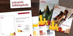 Graphic design and graphic guidelines and brandbook for Leksands Folkhögskola, Sweden.