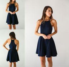 A Line Dark Navy Homecoming Dress,Cute Halter Party Dress,short homecoming dresses