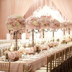 Soft, peach-colored florals and fabrics provide a luxurious feel to your wedding venue at The Ritz-Carlton, Seoul. Quinceanera Decorations, Wedding Reception Decorations, Wedding Themes, Wedding Centerpieces, Wedding Table, Wedding Colors, Wedding Ceremony, Wedding Venues, Wedding Dresses