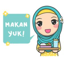 Bunga back again with new stickers that you can use everyday, let's use this stikers for you daily conversation Cartoon Art, Cute Cartoon, Emoticon, Emoji, Pray Quotes, Funny Quotes, Funny Numbers, Anime Muslim, Hijab Cartoon