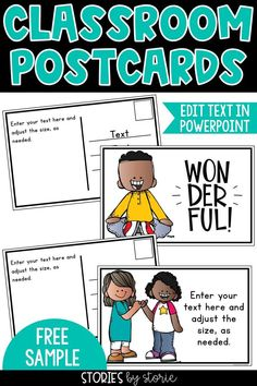 Students love to receive mail from their teacher! Postcards are a quick and easy way to jot a personal note to your students. This free sample includes two pages of editable postcards (4 different images). You will need PowerPoint to change the text on these pages.