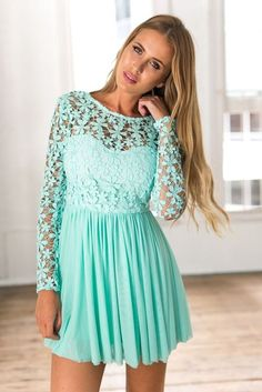 Mint Tulle Crochet Long Sleeve Dress<br/><div class='zoom-vendor-name'>By <a href=http://www.ustrendy.com/Xenia>Xenia</a></div>