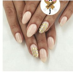 Gel nude nails with a touch of gold