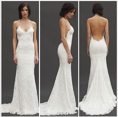 New Sex Lace Wedding Dress Low Back Spaghetti Strap Custom Made in Clothing, Shoes & Accessories, Wedding & Formal Occasion, Wedding Dresses Mermaid Beach Wedding Dresses, Wedding Dress Low Back, Wedding Dresses With Straps, Formal Wedding, Wedding Attire, Bridal Dresses, Wedding Styles, Wedding Gowns, Lace Wedding