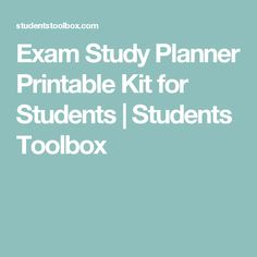 Exam Study Planner Printable Kit for Students | Students Toolbox