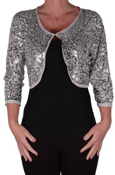 ece51dea779c7 EyeCatch - Scarlett Sequin Chiffon Long Sleeve Top Bolero Shrug Cardigan   Amazon.co.uk  Clothing