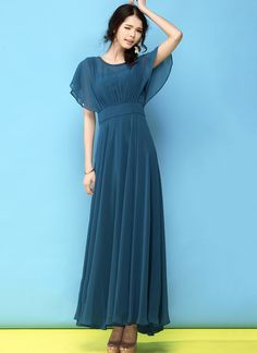 Dark Teal Chiffon Maxi Dress with Modified Dolman Sleeves Bridesmaid Dresses With Sleeves, Modest Dresses, Simple Dresses, Chiffon Dress Long, Lace Dress, Long Frocks For Kids, Frock Models, Choli Dress, Indian Gowns Dresses