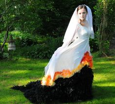 An impressive Hunger Games Wedding/Mockingjay dress...