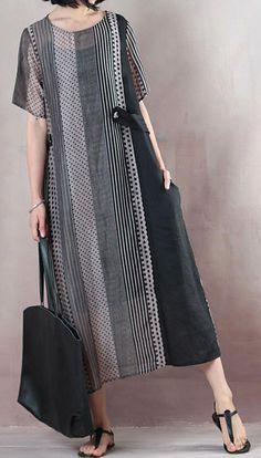 top-quality-natural-silk-linen-dress-stylish-Loose-Silky-Linen-Long-Casual-Dress - top-quality-natural-silk-linen-dress-stylish-Loose-Silky-Linen-Long-Casual-Dress The Effective Pict - Casual Tops For Women, Casual Dresses For Women, Casual Outfits, Clothes For Women, Dress Casual, Stylish Dresses, Simple Dresses, Fashion Dresses, Desi Clothes
