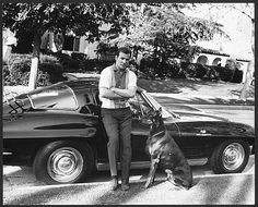Wiliam Shatner with dog and his 1963 Split Window Corvette