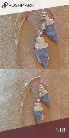 """Arrow dipped drop earrings Beautiful blue stone and gold dipped arrow shaped earrings with a 2"""" drop.  Metal wire with plastic backstop. Unbranded Jewelry Earrings"""