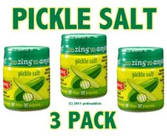 """Dill Pickle Flavor Salt Flavored Seasoning (3 Pack).  Pickle Addicts rejoice, now everything you eat can taste like PICKLES!  The fresh flavor of dill, cucumber and lemon-lime in this unique Pickle Salt pairs naturally with burgers, hot dogs, chips and popcorn. Add flair to everything from french fries, guacamole, corn on the cob, meats and marinades. Add it to Potato Salad and everyone will want to know your """"secret"""". Try it for a unique flavor on Bloody Mary's, Margaritas & Beer!"""