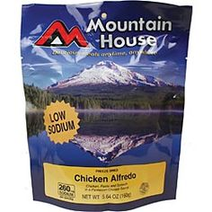 Chicken Alfredo (2-person pouch). Just add water to this pre-cooked freeze-dried meal, and you can eat right out of the pouch! Great for the outdoors and emergencies. $6.95 mountain houses