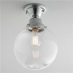 $139.00 Glass Globe Ceiling Light - Clear or White Glass