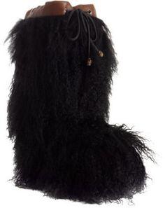 ShopStyle: Gucci black alpaca snow boots
