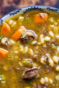 Shut out that cold weather and serve up a hearty bowl of this beef barley soup with prime rib. Tender bits of prime rib, hearty barley, paired complimentary vegetables for one delicious bowl of soup. Best Soup Recipes, Easy Dinner Recipes, Beef Recipes, Cooking Recipes, Game Recipes, Traeger Recipes, Delicious Recipes, Leftover Prime Rib, Stew Chicken Recipe