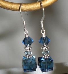 Crystal Montana Denim Blue Cube Dangle Earrings Made with Swarovski Elements – Schmuck modelle Swarovski Jewelry, Beaded Jewelry, Swarovski Crystals, Silver Jewelry, Fine Jewelry, Silver Rings, Geek Jewelry, Gothic Jewelry, Jewelry Necklaces