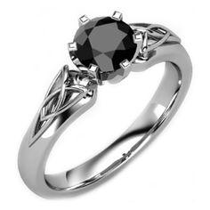 Black Diamond Triquetra Celtic Engagement Ring