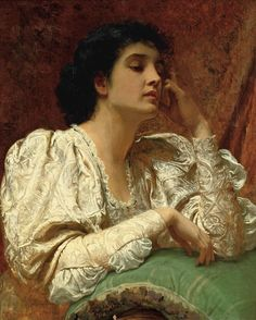 """Oh for the Touch of a Vanished Hand"" - Charles [Carlo] Edward Perugini (Italian-born English, 1839–1918), oil on canvas, 1900 {Victorian era figurative fine art beautiful female seated woman painting #nineteenthcentury #arthistory}"