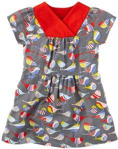 Tea Spatzchen Wrap Dress - Available at ButtonTreeKids.com #buttontreekids #children #childrens #child #kids #cute #onlineshop #clothing #fashion #kidsfashion #childrensclothing #kidswear #instafashion #tea #teacollection #germany #littlegirls #grey #red #birds #girls #girlsclothing #toddler #baby #dress #patterns #dresses
