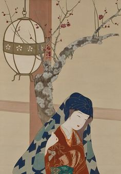 View of a TempleVisit. ink and color on silk. About 1920's, Japan. Artist Itô Shôha, 1877-1968