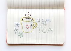 one sheepish girl: Journal Embroidery - A Cup of Tea