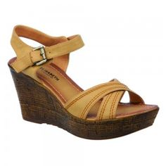 Womens Beige Medium Wedge Sandal Mid Wedge with Crossover Straps