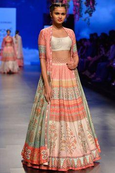 Lehengas, Clothing, Carma, Berry pink pankharee lehenga jacket set