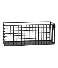 Musta. Suorakaiteen muotoinen metallinen lankakori. Koko 8,5x10x24 cm.