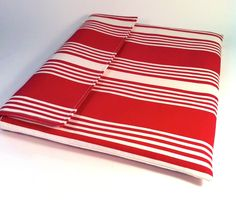 "Laptop case, 13"" MacBook Sleeve, MacBook Air cover  in red and cream stripe. $35.00, via Etsy."
